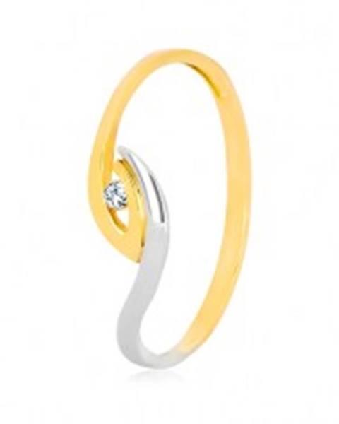 Zlatý prsteň 375 - nepravidelne zahnuté konce ramien, ligotavý zirkón - Veľkosť: 47 mm