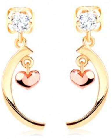 Diamantové náušnice zo 14K zlata - číry briliant, lesklý oblúk, malé vypuklé srdiečko BT503.50