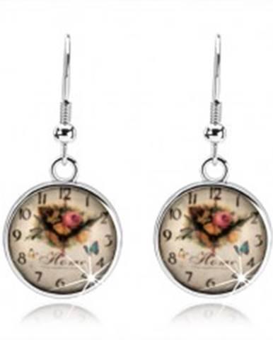 Náušnice, štýl cabochon, glazúra, obrázok hodiniek, ruže, anglický nápis SP71.16