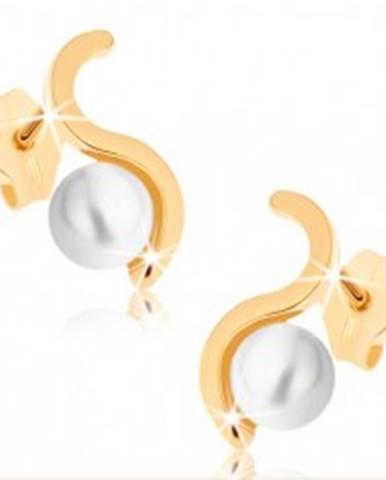 Náušnice zo žltého 9K zlata - ligotavá vlnka, guľatá perla bielej farby GG72.03