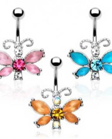 Piercing do bruška - motýľ, farebné zirkóny, členité tykadlá Y11.3 - Farba zirkónu: Aqua modrá - Q