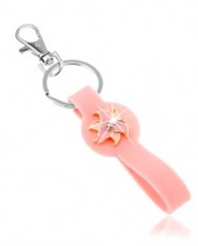 Prívesok na kľúče, silikónová časť ružovej farby, ligotavý kvet SP65.12