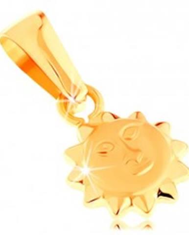 Prívesok v žltom 14K zlate - lesklé vypuklé slnko s matnou tvárou GG144.10