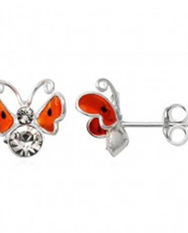 Strieborné náušnice 925 - 3D oranžový motýľ, čierne bodky T20.2
