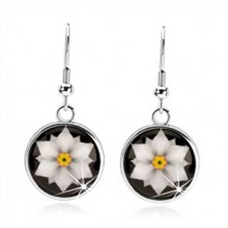 Kabošon náušnice, kruh s glazúrou, biely kvet na čiernom podklade SP66.22
