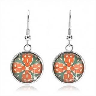 Kabošon náušnice, kruh s glazúrou, kvet z oranžových a zelených ornamentov SP68.06