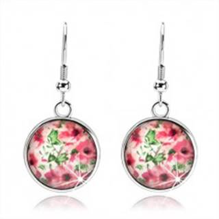Kabošon náušnice, kruh s vypuklou glazúrou, ružové kvety, lístky, biely podklad SP68.16