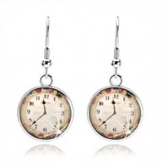 Náušnice, štýl kabošon, priesvitná glazúra, obrázok hodiniek, farebné kvety SP72.29