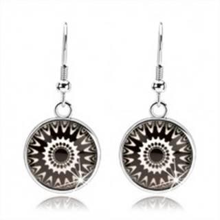 Náušnice typu kabošon, číre sklo, čierno-biele ornamenty, afroháčiky SP68.25