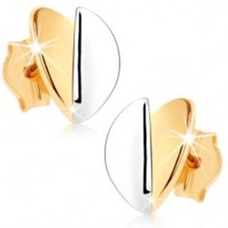 Náušnice v 9K zlate - vypuklé lístočky, zlatý a strieborný odtieň, ródiované
