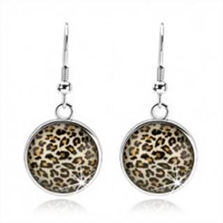 Náušnice v štýle kabošon, visiaci kruh s vypuklým sklom, leopardí vzor