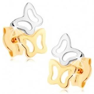 Náušnice zo žltého 9K zlata - dvojfarebné obrysy motýlikov, vysoký lesk GG75.11