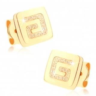 Náušnice zo žltého 9K zlata - lesklý štvorček, pieskovaný grécky kľúč GG73.11