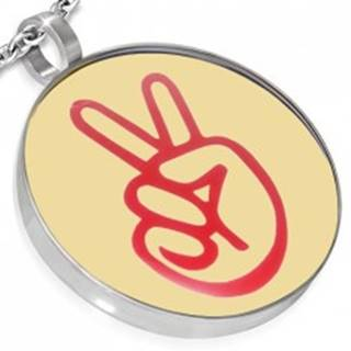 Oceľový okrúhly prívesok - logo peace, ruka
