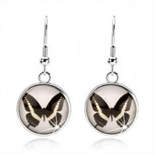 Okrúhle kabošon náušnice, číre vypuklé sklo, čierno-biely motýlik, afroháčik