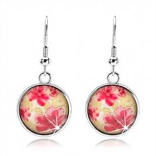 Okrúhle náušnice v štýle kabošon, vypuklé sklo, červené kvety, zelené listy