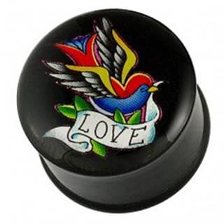 Plug do ucha - pestrofarebný vtáčik, stuha a nápis LOVE W02.03/05 - Hrúbka piercingu: 10 mm
