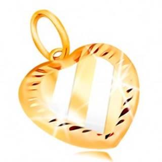 Prívesok v 14K zlate - dvojfarebné srdce so šikmými pásmi a zárezmi po obvode GG211.63