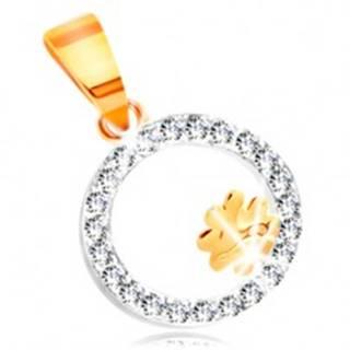 Prívesok z kombinovaného 14K zlata - štvorlístok v obruči z čírych zirkónov GG211.58