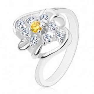 Prsteň so zahnutými ramenami, žltý okrúhly zirkón s čírym lemovaním, oblúčiky - Veľkosť: 52 mm