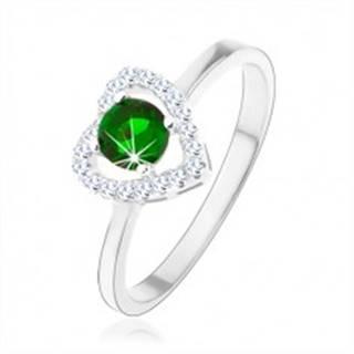 Prsteň zo striebra 925, ligotavá kontúra srdca, zelený okrúhly zirkón - Veľkosť: 46 mm