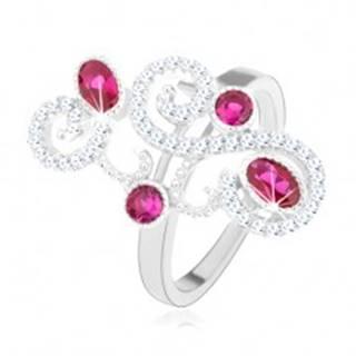 Prsteň zo striebra 925, trblietavé ornamenty, ružové zirkóny, vysoký lesk - Veľkosť: 50 mm