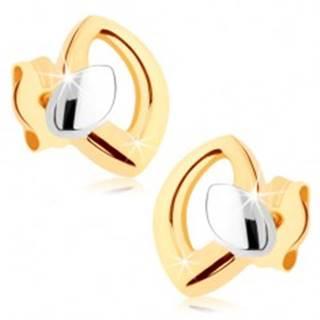 Puzetové náušnice v žltom 9K zlate, kontúra zrnka s malým zrniečkom GG74.03