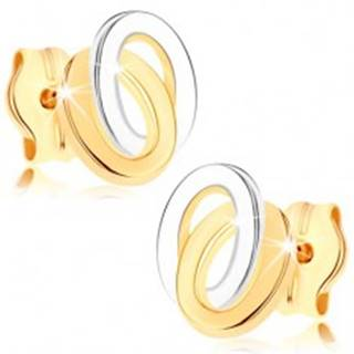 Puzetové náušnice zo žltého 9K zlata - dvojfarebné prepojené elipsy GG75.10