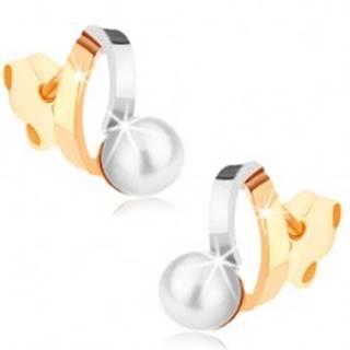 Ródiované náušnice z 9K zlata - dvojfarebné oblúčiky, perla bielej farby GG72.06