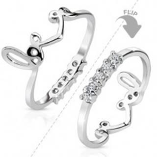 """Ródiovaný prsteň striebornej farby, obojstranný, línia čírych zirkónov, nápis """"love"""" - Veľkosť: 44 mm"""