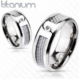 Titánový prsteň - biely sieťovaný vzor so zirkónom K14.12 - Veľkosť: 49 mm