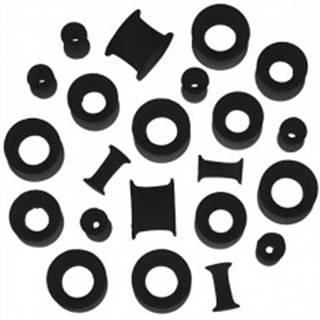 Tunel do ucha zo silikónu - čierny, flexibilný, rôzne veľkosti - Hrúbka: 10 mm