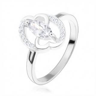 Zásnubný prsteň, striebro 925, číre zirkónové zrnko, prepojené srdcia - Veľkosť: 49 mm
