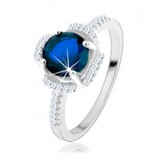 Zásnubný prsteň, striebro 925, modrý kvietok, lupene z čírych zirkónikov - Veľkosť: 49 mm