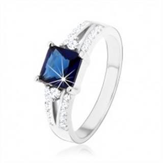 Zásnubný prsteň, striebro 925, modrý zirkónový štvorec, zdobené ramená - Veľkosť: 47 mm