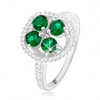 Zásnubný strieborný prsteň 925, okrúhly ligotavý kvet, zelené zirkóny - Veľkosť: 49 mm