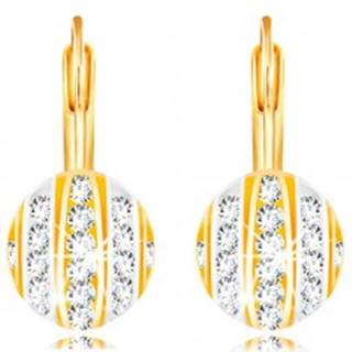 Zlaté 14K náušnice - polgulička s pásmi bieleho a žltého zlata, číre zirkóny