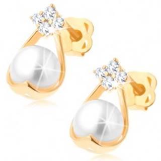 Zlaté briliantové náušnice 585 - štyri diamanty, kontúra kvapky s bielou perlou