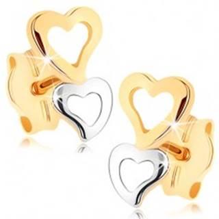 Zlaté náušnice 375 - dve srdcové kontúry v dvojfarebnom prevedení GG75.03