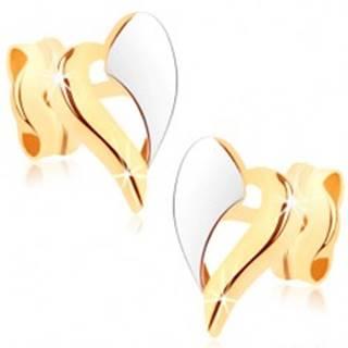 Zlaté náušnice 375 - dvojfarebný obrys nepravidelného srdiečka, ródiované GG74.05