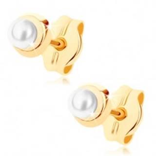 Zlaté náušnice 375 - malý lesklý kruh s drobnou guľatou perličkou