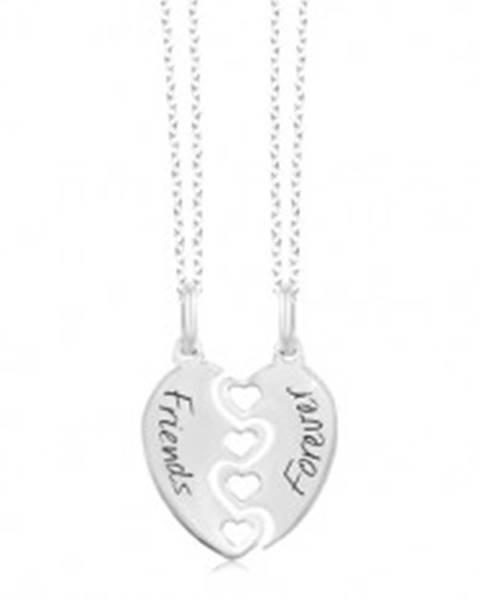 Dva náhrdelníky - prelomené srdce Friends Forever, striebro 925
