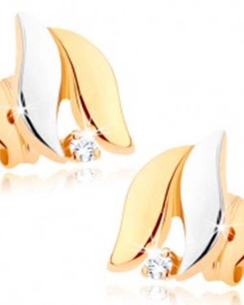 Dvojfarebné náušnice z 9K zlata - širšie vlnky, vysoký lesk, číry zirkónik