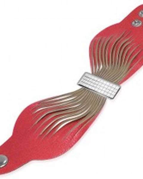 Kožený náramok - ružové pásy, šachovnicová spona