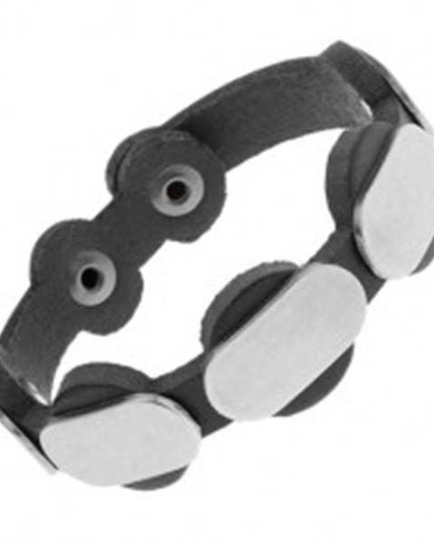 Nastaviteľný čierny náramok z umelej kože, matné oceľové ovály Y33.15
