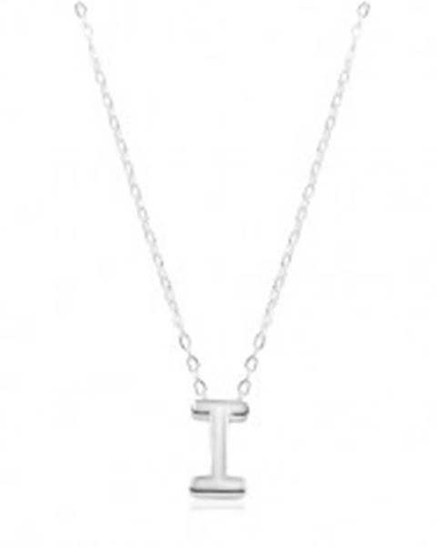 Nastaviteľný náhrdelník, striebro 925, veľké tlačené písmeno I