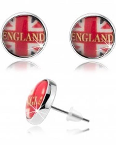 Náušnice v štýle kabošon, motív britskej vlajky, nápis, puzetky