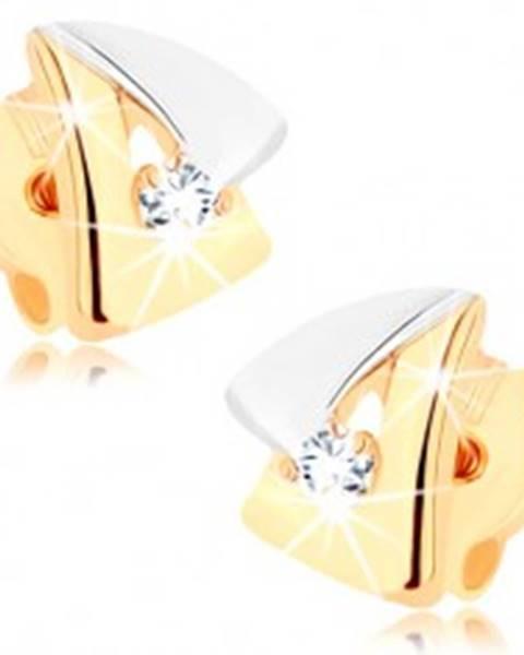 Náušnice z 9K zlata - dvojfarebný obrys trojuholníčka, číry zirkón GG78.04