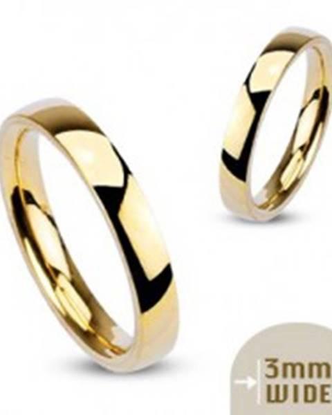 Oceľová obrúčka zlatej farby so zrkadlovým leskom - 3 mm - Veľkosť: 48 mm