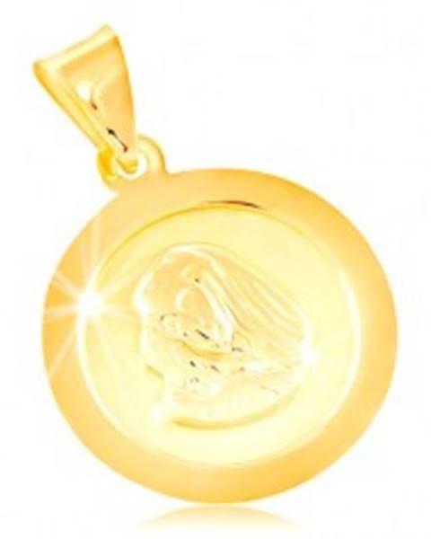 Prívesok v žltom 14K zlate, okrúhla známka s Pannou Máriou GG212.11